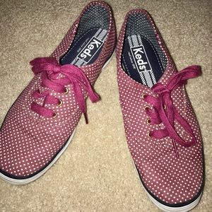 Keds sneakers size 7 maroon and white polka dots